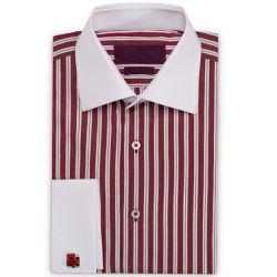 Long Sleeve der Männer in Maroon und in White Striped Fabric Shirt