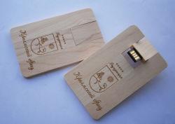 대나무 또는 단풍나무 목제 호리호리한 카드 8GB USB 섬광 드라이브 펜 또는 휴대용 저장 GIF