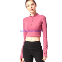 여성 재킷 프론트 지퍼 요가 셔츠 피트니스 요가 셔츠 요가 티셔츠 여성용 패셔너블한 러닝 셔츠