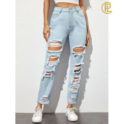 As vendas a quente do orifício de rua da moda jeans azul