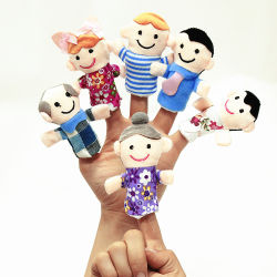 봉제 핑거 돌리 패밀리 핑거 퍼펫 플러쉬 토이 어린이 교육적인 장난감