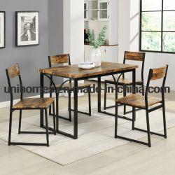 Fabricante 5 Peças Conjunto de Jantar Bege/Black Mesa de jantar e cadeiras para 4 pessoas, sala de jantar apresenta direto de fábrica