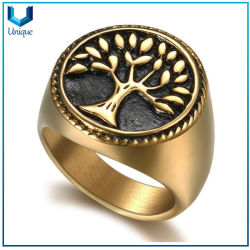 Life Tree Gold Ring, Acccept Custom Design Stainelss Ring, Retro Navy Anchor Style Alloy Copper Titanium Steel Hip Hop Fashion Vintage Jewelry Mens Ring
