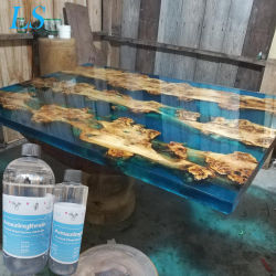Embarcaciones de cristal transparente resina increíble tabla se utiliza como mesa de comedor y mesa de café