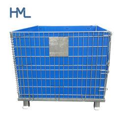 アメリカの産業物品取扱いの輸送のスタック可能ペットはふたが付いている金属線の網のGitterboxの鋼鉄容器を前もって形成する