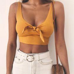 Correia dentada em bow tie Tanque Camisole Tops Mulheres Verão Moda Streetwear Superior básica da cultura 2018 Cool Meninas Tees Camis recortada