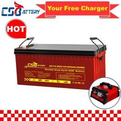 بطارية Csbattery بجهد 12 فولت وقدرة 200 أمبير في الساعة وبطارية احتياطية لبطارية UPS/الطوارئ/الأمان/الضوء/مصباح LED/csf
