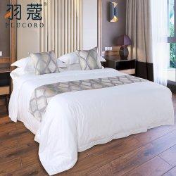 Fünf-Sternehotel-Schlafzimmer-Set-Tröster-Deckel-weißes Baumwollsatin-Baumwollleinen-Set