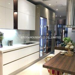 La puerta de MDF acabado lacado Blanco alto brillo Foshan Diseño Moderno de forma recta kitchen cabinet