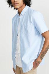 적당한 턱시도 옥스포드 남자 우연한 셔츠 긴 소매에 의하여 줄무늬로 한 남자 셔츠를 체중을 줄이십시오