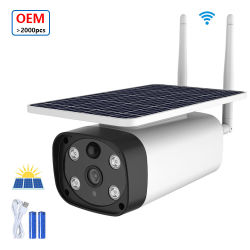 Hot sale 2MP Solar WiFi CCTV telecamera 4 luci per esterni Videocamera di sicurezza sorveglianza scheda SIM solare fotocamera per APP i-Cam Telecamera IP