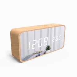 Display a LED multifunzione con specchio, orologio con allarme digitale e superficie a specchio