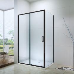 Panneau latéral du châssis noir Salle de bains 1 trappe fixe 1 boîtier rectangle douche coulissantes en verre (ex-504A)