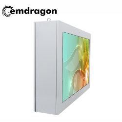 شاشة أفقية معلقة على الحائط مزودة بتبريد هوائي بحجم 65 بوصة مزودة بلوحة إعلانات خارجية Mini PC Ad Panel رباعية المراكز Digital Signage Network Touch LED Totem