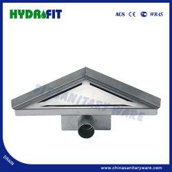 壁(FD6112)に対するステンレス鋼の側面のアウトレットのコーナーの下水管