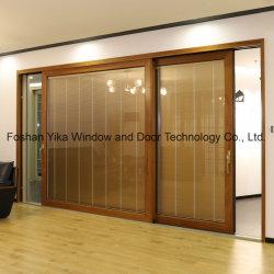 Haut de la qualité de l'aluminium porte coulissante de porte en bois massif avec stores électriques