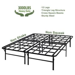 Lit plate-forme Frame/Assemblage facile matelas Foundation / 3000lbs latte en acier robuste