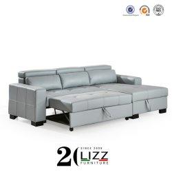 Moderno divano letto a L in pelle italiana con ripostiglio Per soggiorno