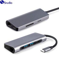Convertisseur USB C Hub multiports 7 sur 1 Por Interface USB3.1 hub, Carte Ethernet
