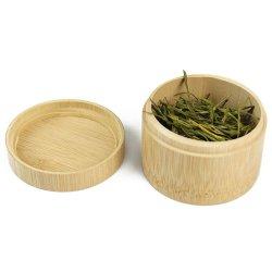 Runder Glas-Salz-/Tee-Kasten-Bambusbehälter