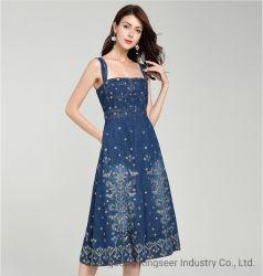 Jean GROS personnalisé broderie logo robes de nouvelle conception de la mode décontractée d'été robe du soir Mesdames Jean femmes Vêtement robe Denim Vintage Stock KS003