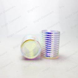 Шаблон полосы радуги стекла при свечах Jar чашка для принятия решений в форме свечи