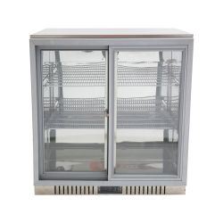 2 portes coulissantes de couleur noire arrière bar réfrigérateur du refroidisseur d'affichage de la bière du refroidisseur d'en vertu de la barre arrière de la bière avec voyants LED du refroidisseur