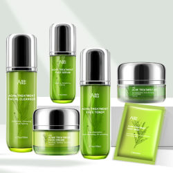 기르는 수화 기름 통제 마스크 Skincare를 희게하는 개인적인 Llabel 자연적인 플랜트 여드름 처리 피부 관리 세트