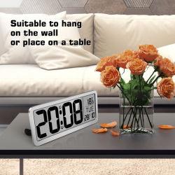 Reloj electrónico LCD Digital calendario de escritorio Reloj de pared Reloj de alarma para el Hotel Office