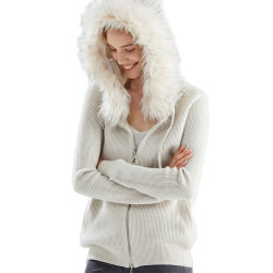 美しい毛皮カラー女性のジャケットの冬のセーター