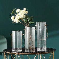 친환경 우아한 스타일의 투명 유리 플라워 다양한 크기의 유리 홈 장식이 있는 꽃병