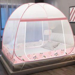 Без установки складной противомоскитные сетки 1,8 м кровать двойной домашних 1.5m студенческие общежития 1,2 м Net розового цвета
