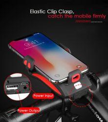 Цикла лампа велосипед USB аккумулятор светодиодный индикатор на велосипеде с помощью звукового сигнала и держатель для мобильных ПК