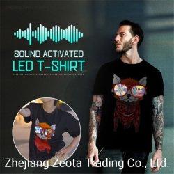 Camiseta LED Electroluminiscente EL SONIDO ACTIVADO POR PARTE