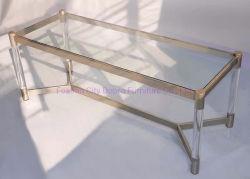 アクリル系のモダンな透明金属製の長方形コーヒーテーブルが人気