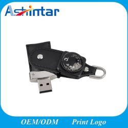 محرك أقراص USB محمول من الجلد USB محمول USB2.0/USB3.0 سعة 4 جيجابايت وسعة 8 جيجابايت ذاكرة USB Flash Drive سعة 32 جيجابايت سعة 64 جيجابايت سعة 128 جيجابايت خارجية مع البوصلة
