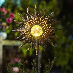 A energia solar Piscina Lawn House Decoração Jardim LED de luz com a arte de ferro metálico de saída oco Sun Moon Flower Torch Anjo com jogo de Design