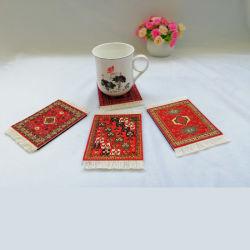 4장의 양탄자 테이블 연안 무역선 페르시아 디자인 직물 양탄자 음료 매트의 세트