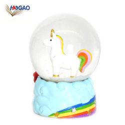Cadeaux personnalisés à bille de l'eau Souvenirs Figurine résine Rainbows Unicorn Boule à neige
