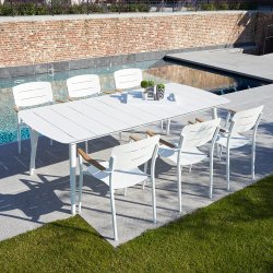 Piscina Restaurante moderno Poltronas mesa de jantar retangular de alumínio definido