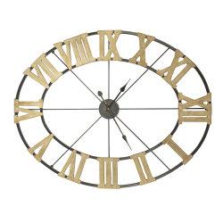 Ovales Metal Wire Clock mit Wooden Römer Numbers