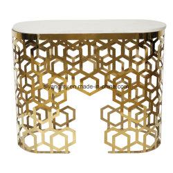 Espejos venecianos de la consola de acero inoxidable muebles de mármol, tablas de la consola de mesa