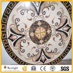 Medaglione Waterjet di pietra di marmo naturale dell'intarsio rotondo, reticolo del medaglione