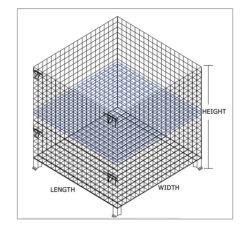 Mesh Box Drahtgitter Metallbehälter Aufbewahrungsbehälter Drahtgitter Palettenkratte Faltbar Stapelbarer Stahl Lagerkäfig Palette Chinesisch