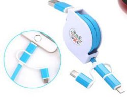 3 in 1 Retractable USB Cable, Multi-Function Handy Cable