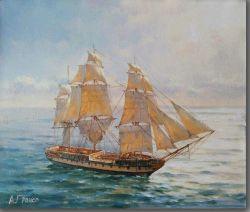 Segelboot-Segeltuch-Ölgemälde für Wand-Dekoration