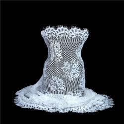 Кружевной ткани с цветочным рисунком Eyelash изящные цвета слоновой кости Шантильи свадебные ткани