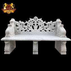 Lado Entalhado Mobiliário de exterior de banco de Pedra Jardim em mármore branco