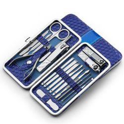 Haste de aço inoxidável Clipper definir as ferramentas de unhas manicure e pedicure Conjunto de 18 Peças - Kit de modelagem de viagem com estojo rígido14212 ESG