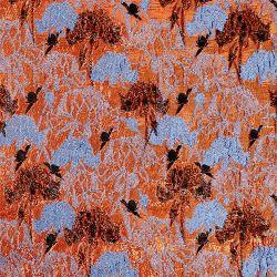 熱いオレンジ花柄のジャカード
